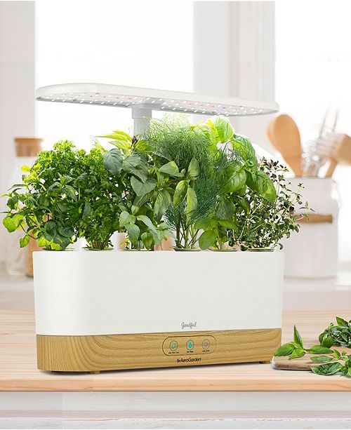 Goodful By Aerogarden Harvest Slim White With Wood Base And Gourmet Herbs Seed Pod Kit Created For Macy S Reviews Small Appliances Kitchen Macy S