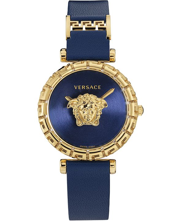 Versace Women's Swiss Palazzo Empire Greca Blue Leather Strap Watch 37mm