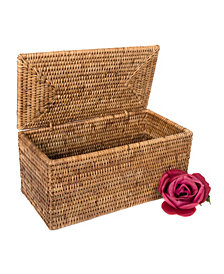 Artifacts Rattan Rectangular Double Tissue Roll Box with Lid