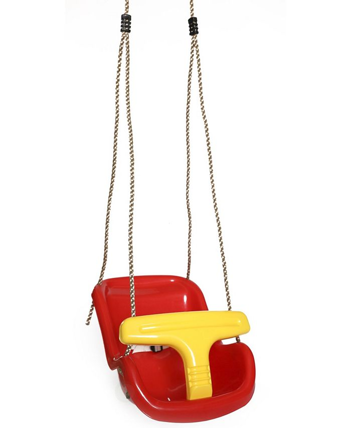 Playberg - Red Plastic Baby and Toddler Swing Seat with Hanging Ropes