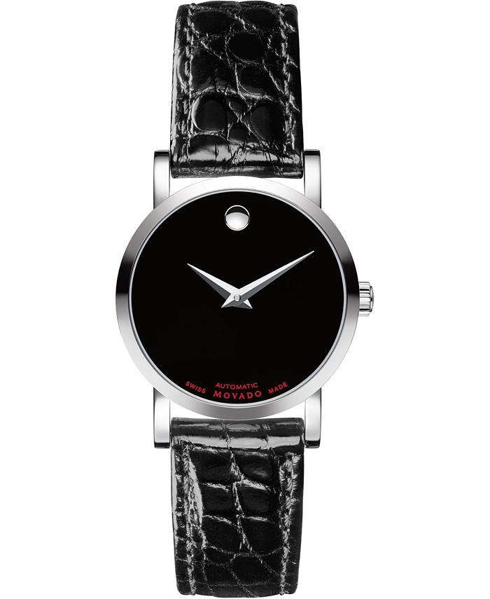 Movado - Women's Swiss Automatic Red Label Black Leather Strap Watch 26mm