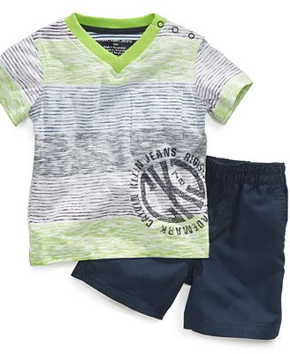 Calvin Klein Baby Set, Baby Boys 2-Piece Stripe Shirt and Shorts