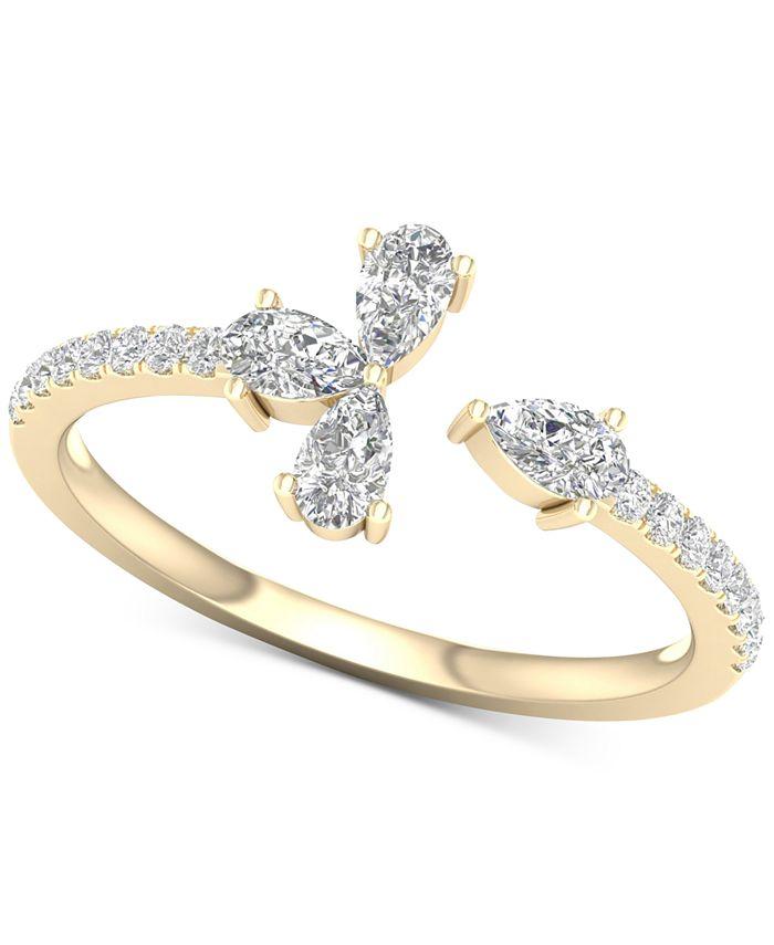 Macy's - Diamond Pear-Cut Cuff Statement Ring (1/2 ct. t.w.) in 14k Gold