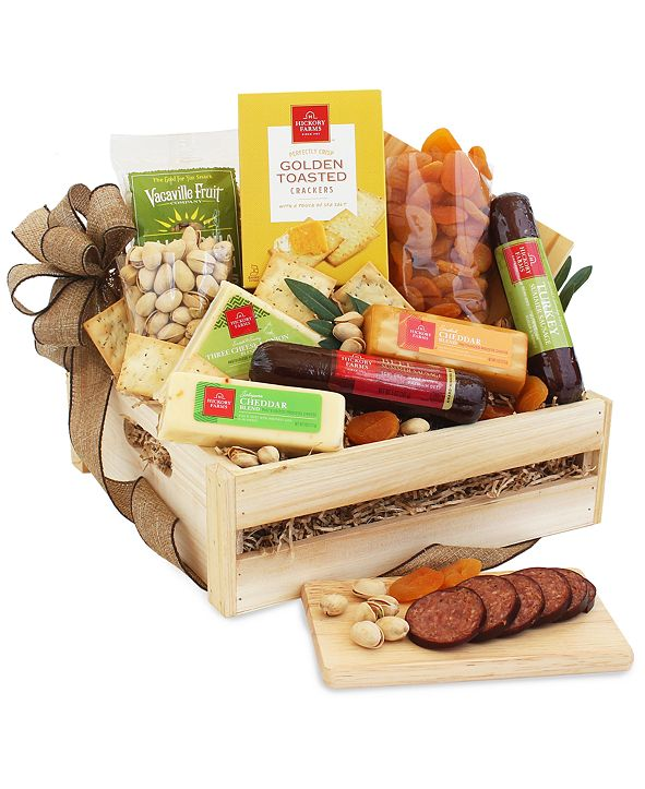Hickory Farms Meat & Cheese Wooden Gift Crate