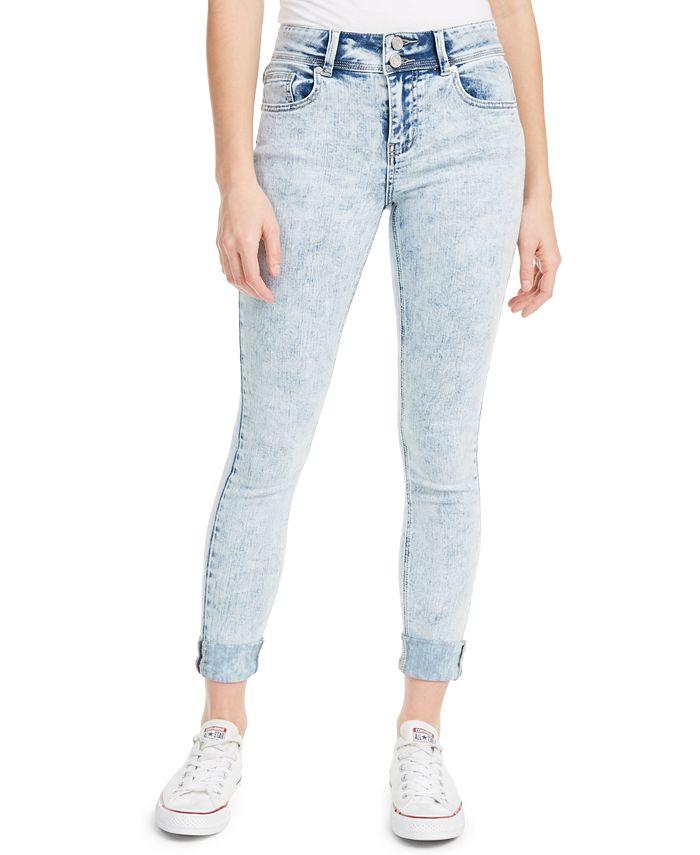 Indigo Rein - Juniors' Cuffed Double-Button Skinny Jeans