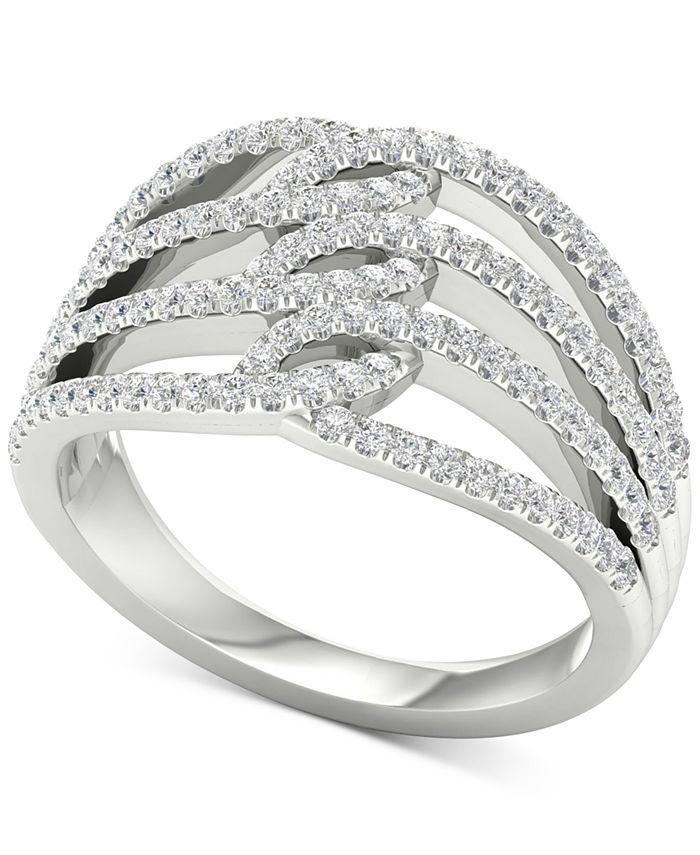 Macy's - Diamond Multi-Row Openwork Statement Ring (5/8 ct. t.w.) in 10k White Gold
