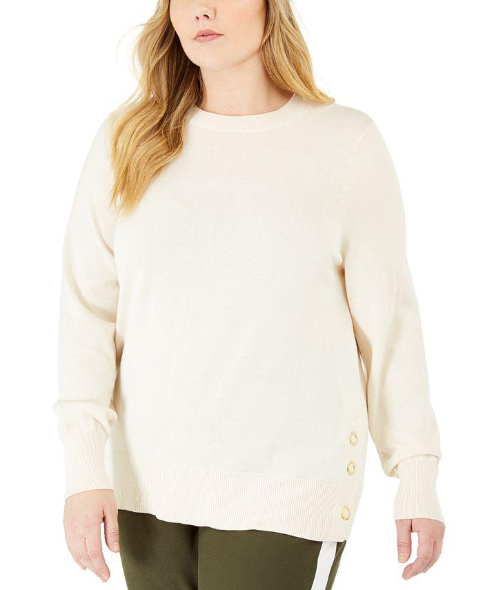Michael Kors - Plus Size Side-Snap Crewneck Sweater