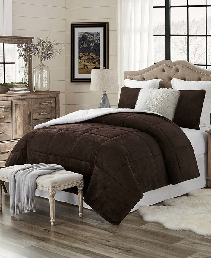Cathay Home Inc. - Plush Faux Fur and Sherpa Reversible King/Cal King Comforter Set