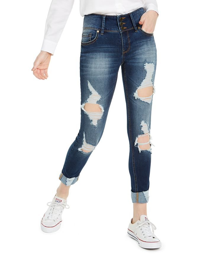 Indigo Rein - Juniors' High-Waisted Triple-Button Ripped Skinny Jeans