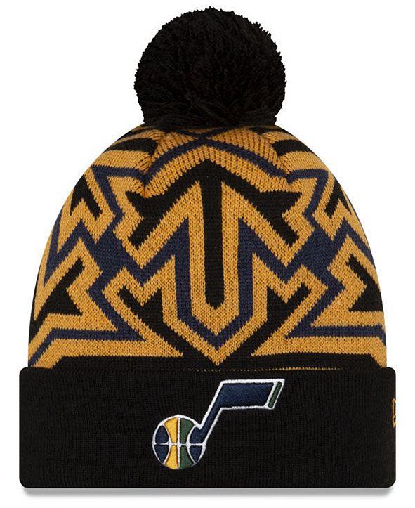 New Era Utah Jazz Big Flake Pom Knit Hat