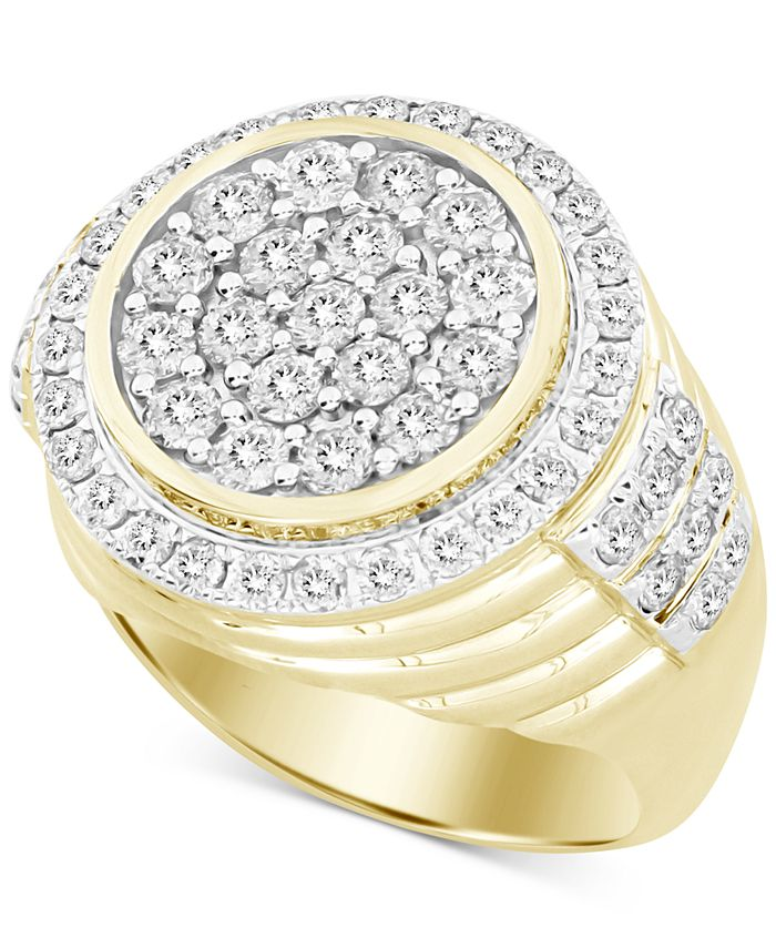 Macy's - Men's Diamond Round Cluster Ring (3 ct. t.w.) in 10k Gold