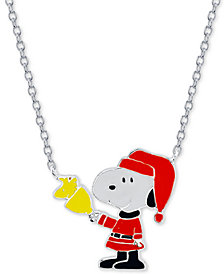 "Peanuts ""Snoopy"" Santa Station Pendant Necklace in Fine Silver Plated, 16""+2"" extender"