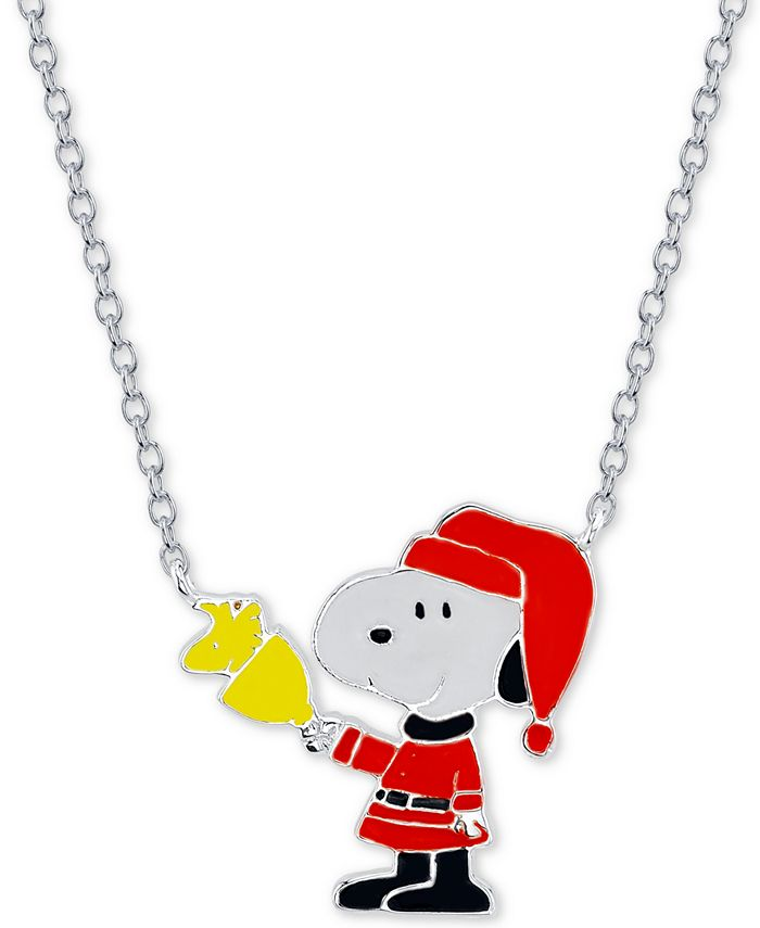 """Peanuts - """"Snoopy"""" Santa Station Pendant Necklace in Fine Silver Plated, 16""""+2"""" extender"""