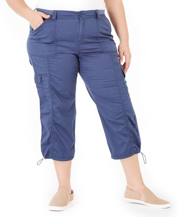 Style & Co - Plus Size Cotton Bungee Cargo Capri Pants