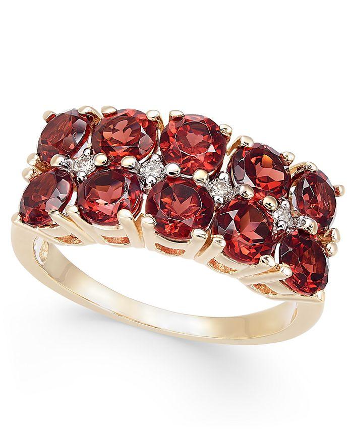 Macy's - Rhodolite Garnet (3-1/5 ct. t.w.) & Diamond (1/20 ct. t.w.) Horizontal Cluster Ring in 14k Gold