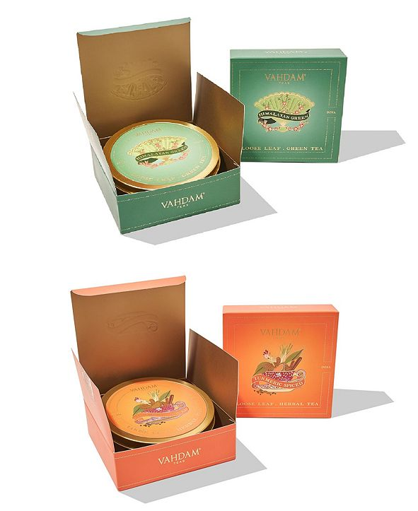 Vahdam Teas Himalayan Green Tea Turmeric Spiced Herbal Tea, Combo, Gift Set