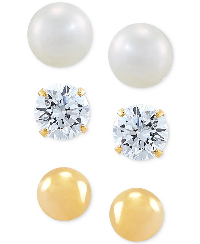 Macy's - 3-Pc. Set Cutured Freshwater Pearl (5mm), Cubic Zirconia & Polished Round Stud Earrings in 10k Gold