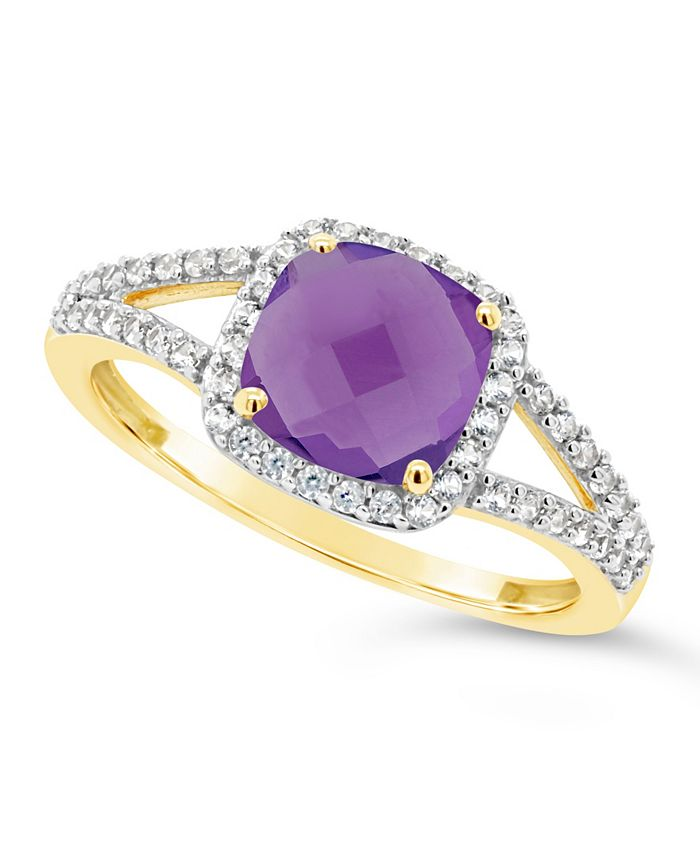 Macy's - Amethyst (1-1/3 ct. t.w.) and Created White Sapphire (1/4 ct. t.w.) Ring in 10k Yellow Gold