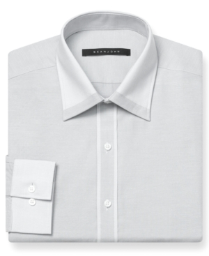 Sean John Dress Shirt Storm Solid Long Sleeve Shirt with White Collar and Cuff