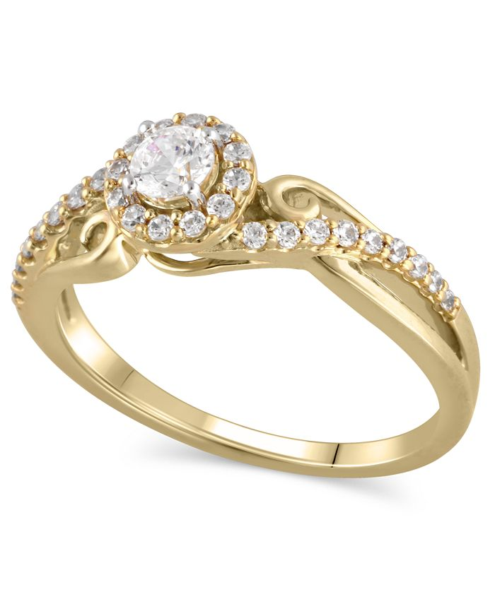 Macy's - Certified Diamond (3/8 ct. t.w.) Engagement Ring in 14K YELLOW GOLD