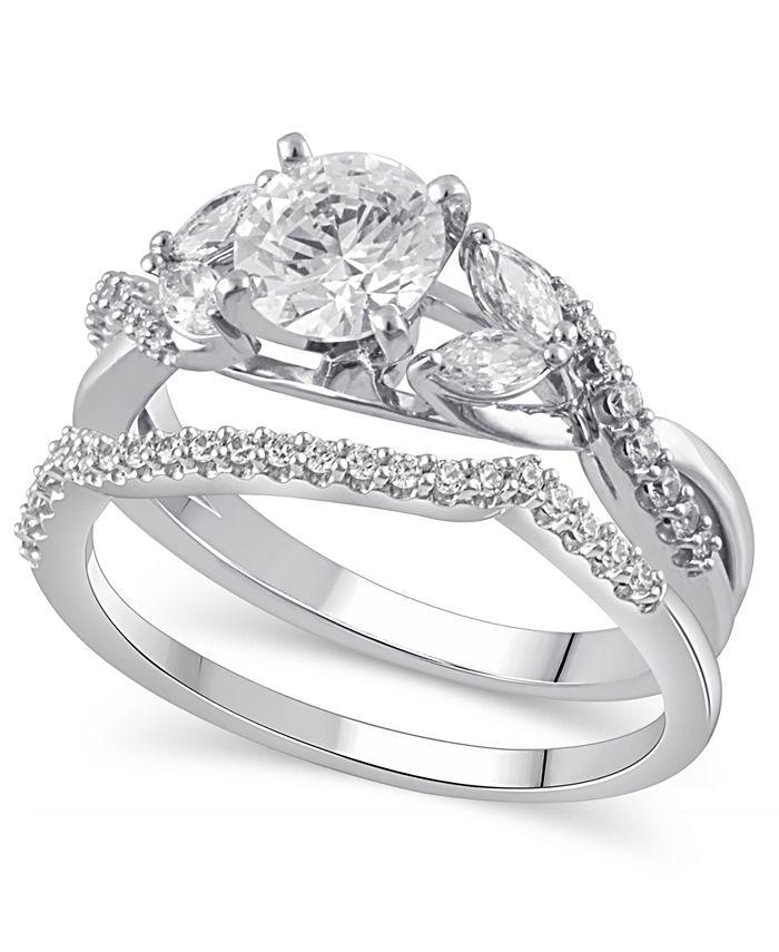 Macy's - Certified Diamond (1-5/8 ct. t.w.) Bridal Set in 14K White Gold