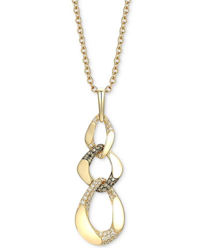 "Le Vian - Diamond Chain Link 18"" Pendant Necklace (1-1/10 ct. t.w.) in 14k Gold"