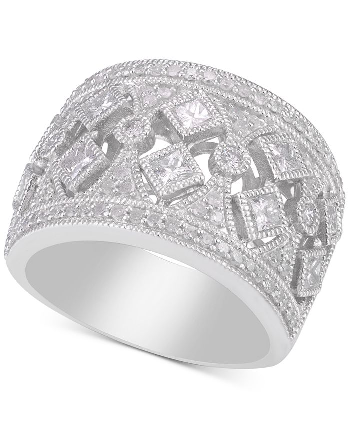 Macy's - Diamond Filigree Wide Band Statement Ring (1-1/4 ct. t.w.)