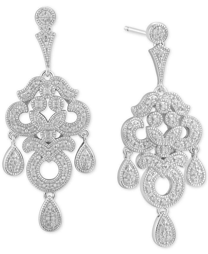 Macy's - Diamond Chandelier Drop Earrings (1/4 ct. t.w.) in Sterling Silver
