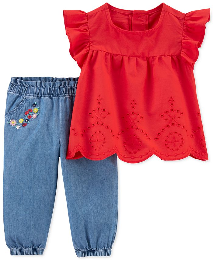 Carter's - Baby Girls 2-Pc. Cotton Eyelet Top & Chambray Pants Set