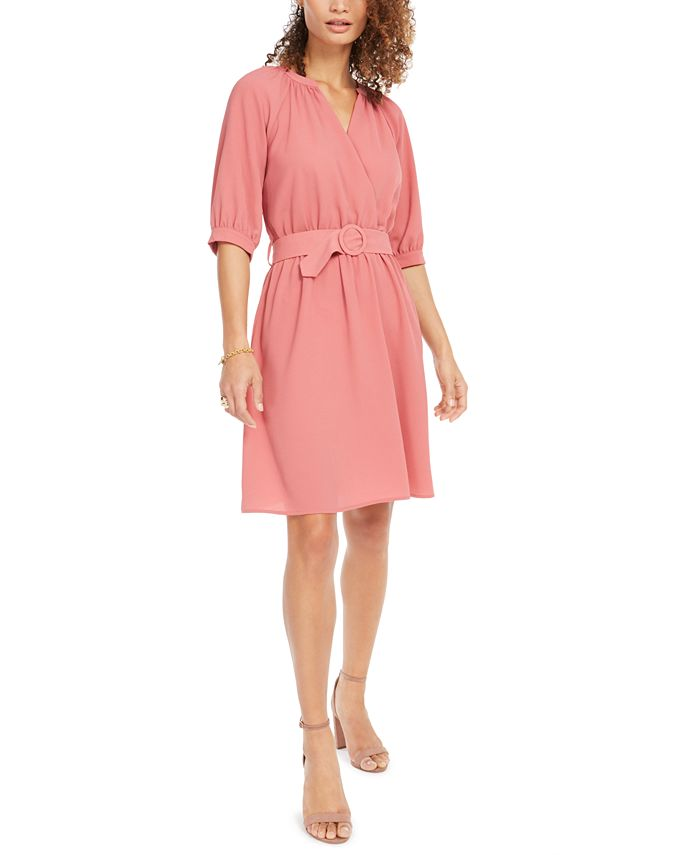 Monteau - Petite Belted Faux-Wrap Dress