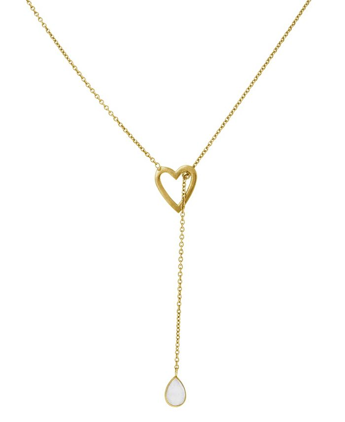 ADORNIA - Open Heart Adjustable Lariat with Pear Cut Moonstone