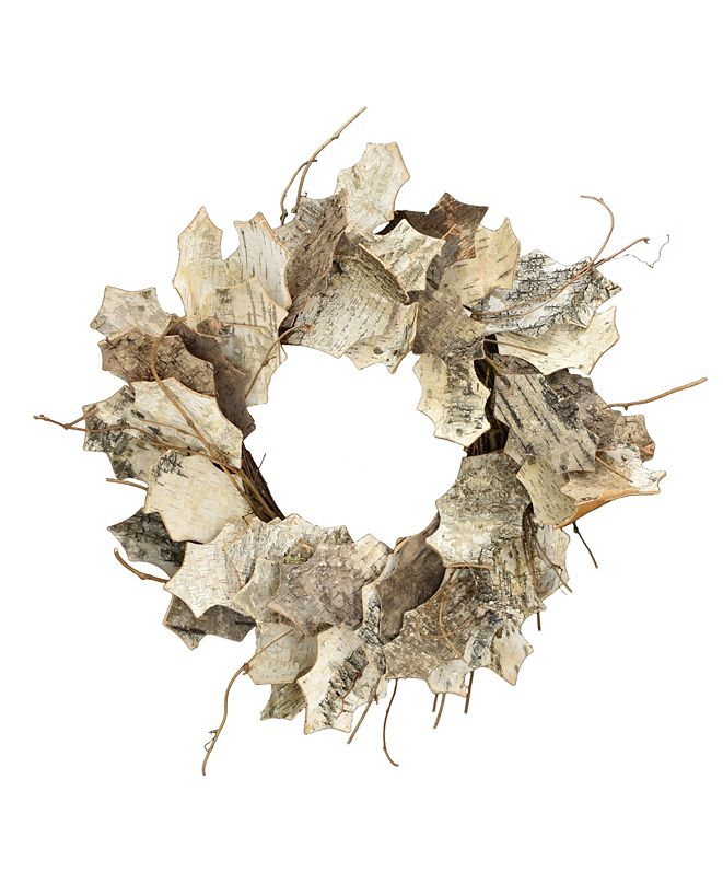"Mills Floral 20"" D White Leaf Birch Wreath"