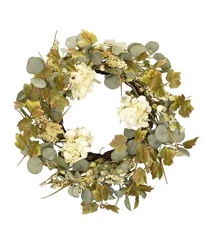 "Mills Floral 24"" D Artificial Ivory Hydrangea and Eucalyptus Wreath"