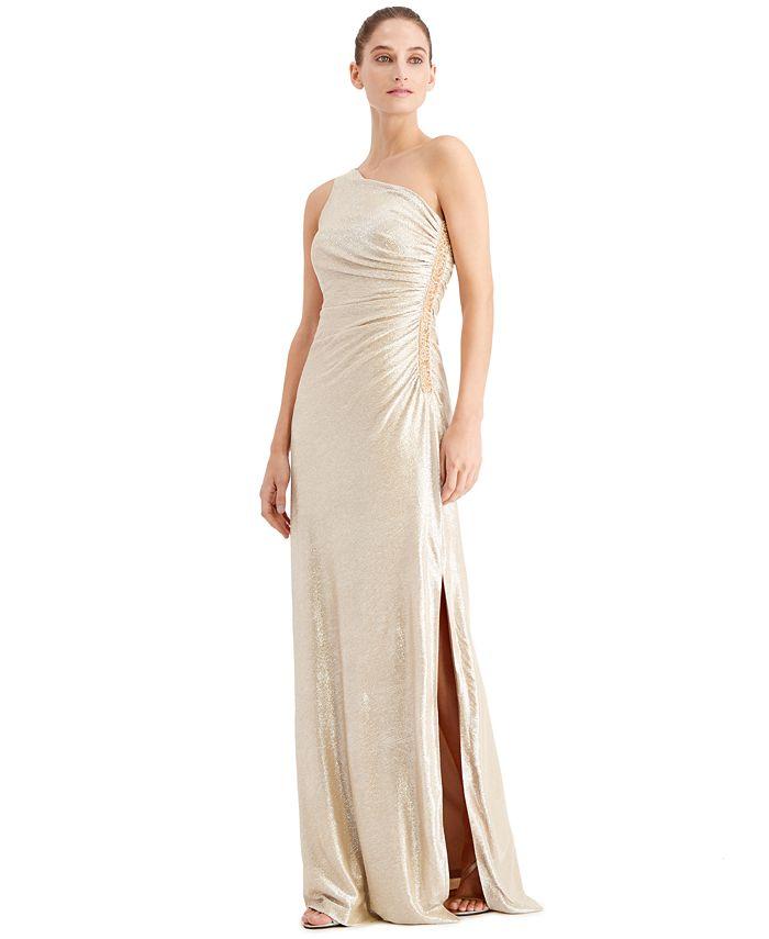 Calvin Klein - One-Shoulder Metallic Gown