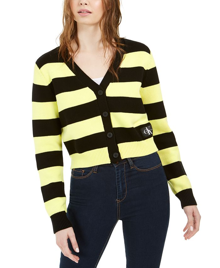 Calvin Klein Jeans - Striped Button-Front Cotton Cardigan
