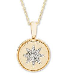 Diamond Accent Starburst Pendant in 14K Yellow or Rose Gold