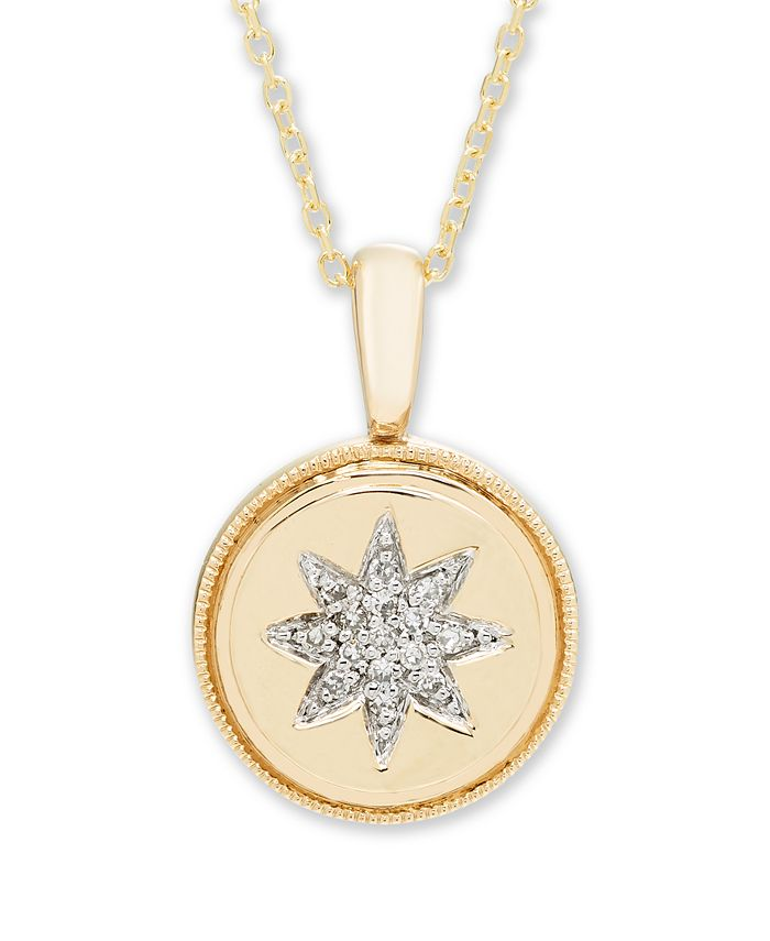 Macy's - Diamond Accent Starburst Pendant in 14K Yellow or Rose Gold