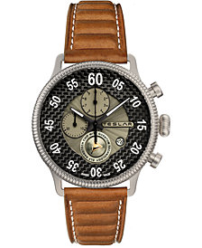Teslar Men's Swiss Chronograph Re-Balance T-1 Brown Leather Strap Watch 44mm