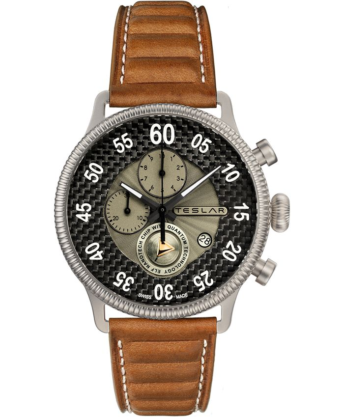 Teslar - Men's Swiss Chronograph Re-Balance T-1 Brown Leather Strap Watch 44mm