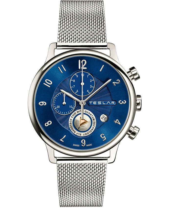 Teslar - Men's Swiss Chronograph Re-Balance Stainless Steel Mesh Bracelet Watch 42mm