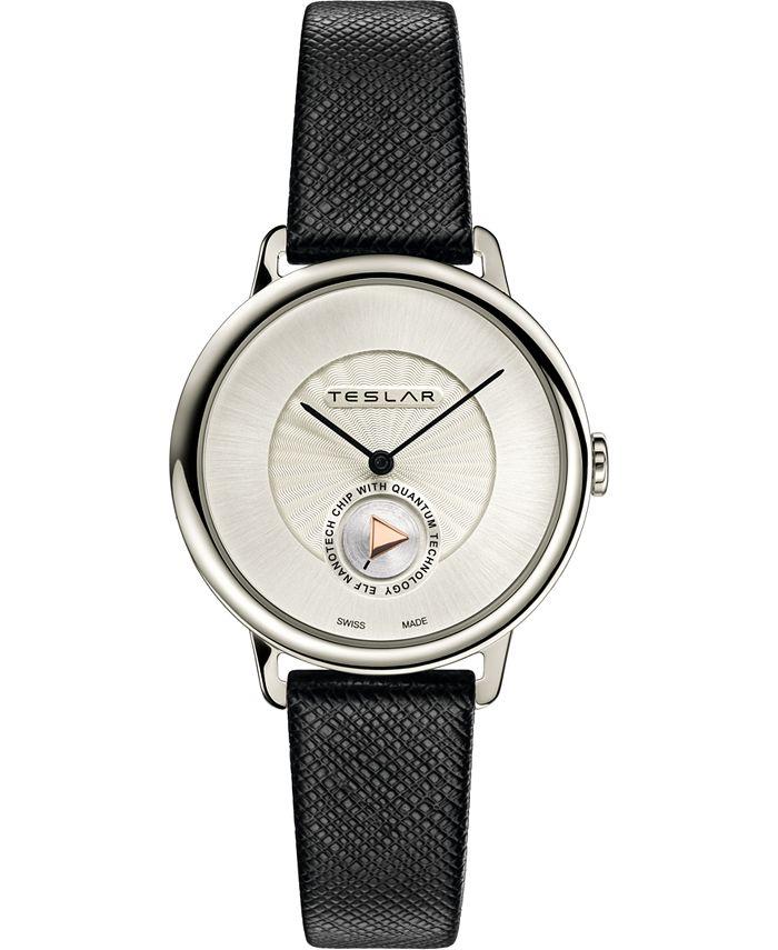 Teslar - Women's Swiss Re-Balance T-1 Black Leather Strap Watch 36mm