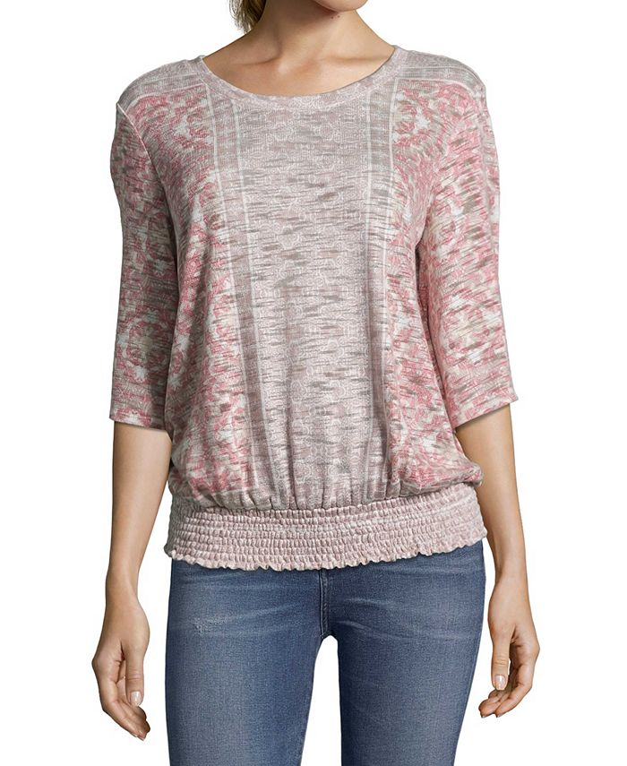 John Paul Richard - Printed Banded-Hem Top