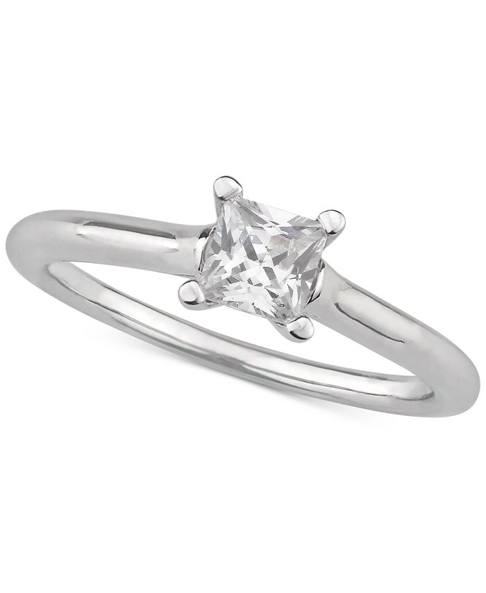Macy's - Certified Diamond Princess Solitaire Engagement Ring (1/2 ct. t.w.) in 14k Gold