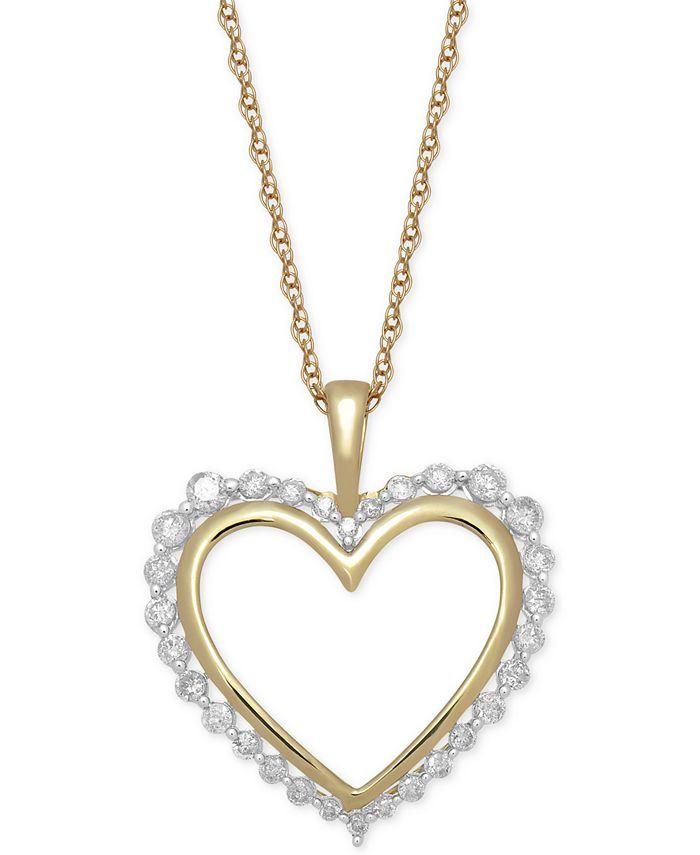 "Macy's - Diamond Heart 18"" Pendant Necklace (1/2 ct. t.w.) in 14k Gold"