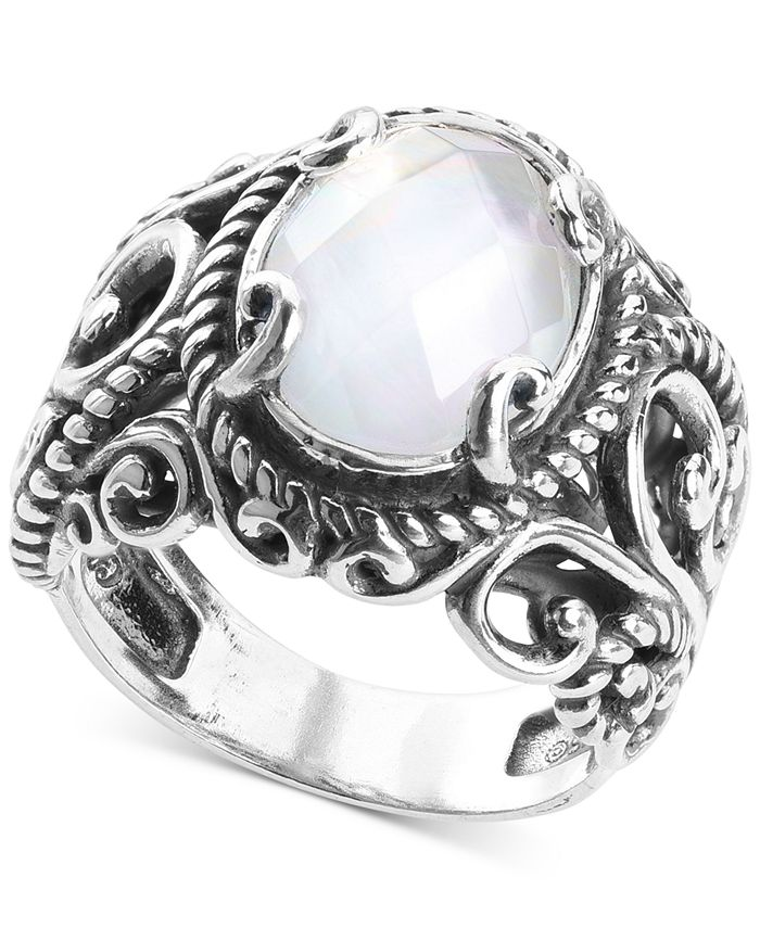 Carolyn Pollack - Mother-of-Pearl Quartz Doublet Statement Ring in Sterling Silver