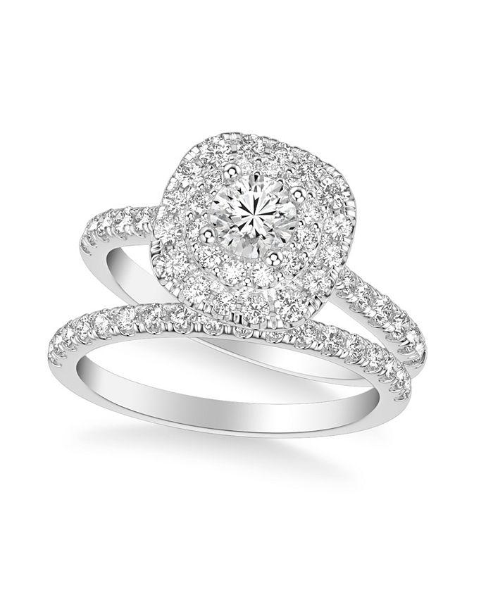 Macy's - Diamond Halo Bridal Set (1 1/2 ct. t.w.) in 14k White, Yellow or Rose Gold