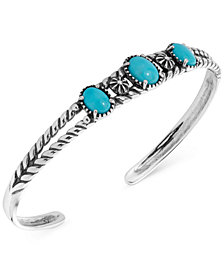 American West Turquoise Openwork Cuff Bracelet in Sterling Silver