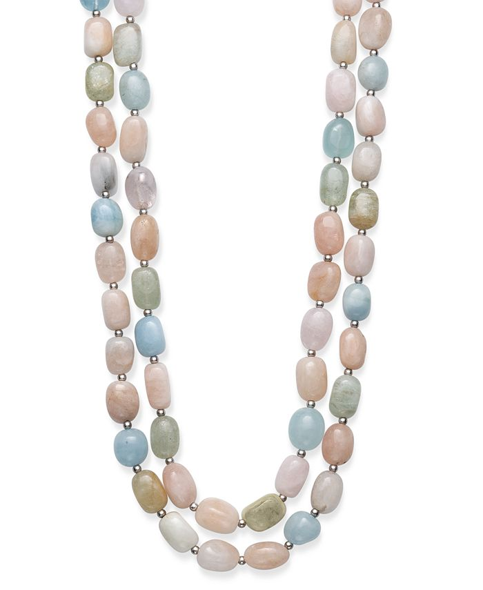 """Macy's - Baroque Shaped Multi-Color Morganite 14X10mm Double Row 18"""" and 19"""" Necklace with Sterling Silver Clasp"""