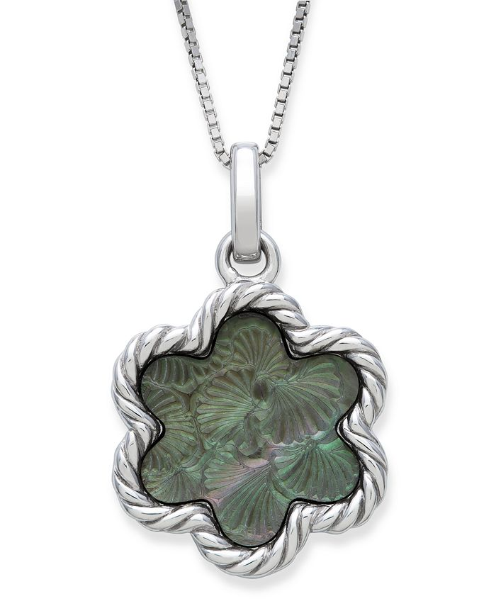 """Macy's - Engraved Black Mother of Pearl 13mm Flower Pendant with 18"""" Chain in Sterling Silver"""