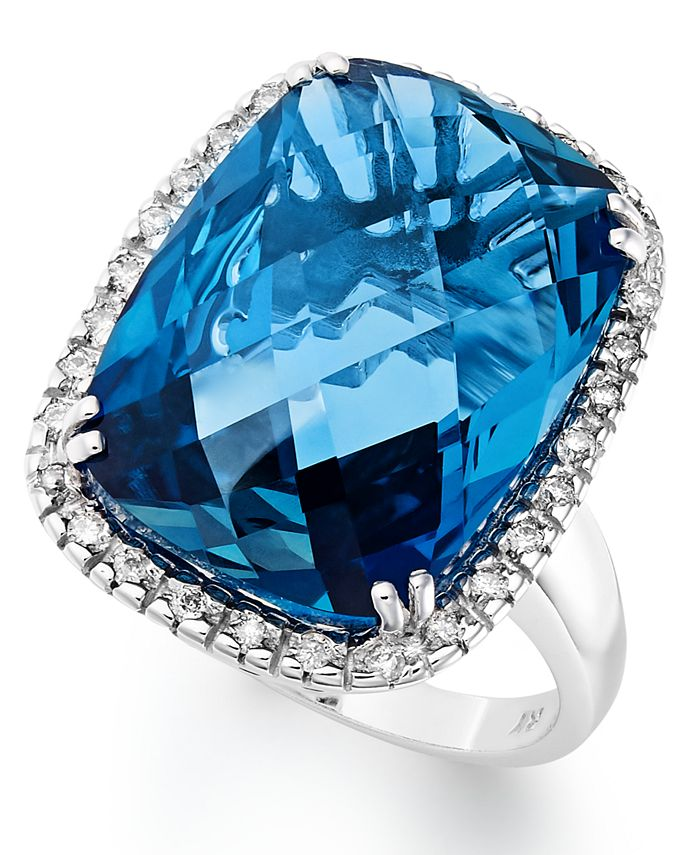 Macy's - 14k White Gold Ring, London Blue Topaz (15 ct. t.w.) and Diamond (1/5 ct. t.w.) Rectangle Ring